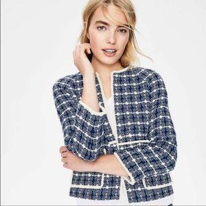 NWT Boden Size 12 Ida Blue Textured Jacket
